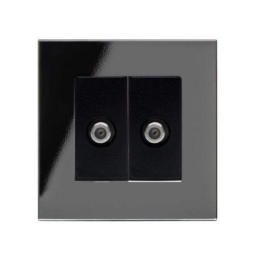 RetroTouch Dual Satellite F Type Socket Black Glass PG 00355